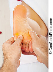 voet,  closeup, masserende handen, handen