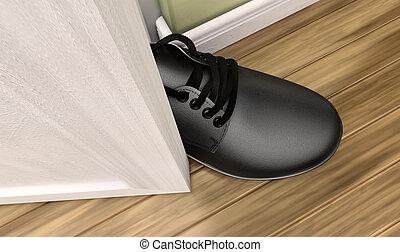 voet, deur, krijgen