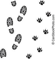 voet drukt af, vector, dog, man