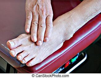 voet, examen, senior, patiënt, bankje