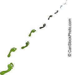 voet, grijs, koolstof, groene, stappen