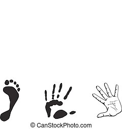 voet, hand, print-out