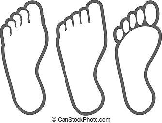 voet, lijn, mager, menselijk, iconen
