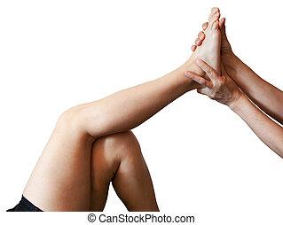 voet, mannelijke, masserende handen, vrouwlijk, handen