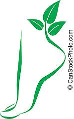 voet, ontwerp, symbool., element