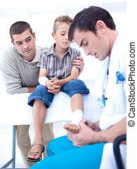 voet, patient\'s, het verbinden, arts