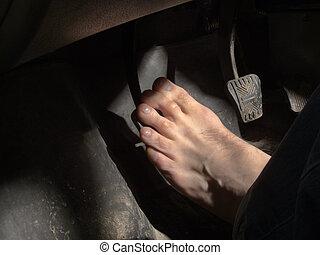 voet pedaal, blote, koppeling