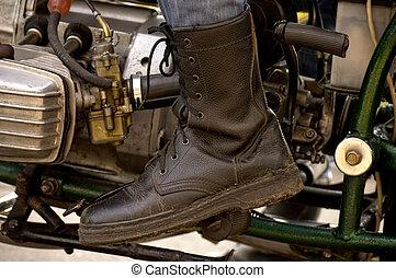 voet pedaal, fietser, gas