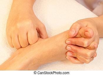 voet, reflexology, behandeling, masseren, spa