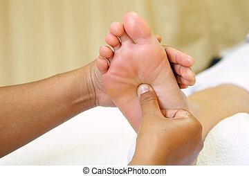 voet, reflexology, masseren, spa