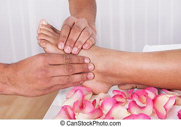 voet, spa, masserende handen, hand