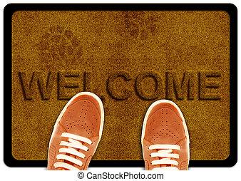 voet, tapijt te reinigen, welkom