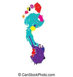 voet, vector, illustratie, print.