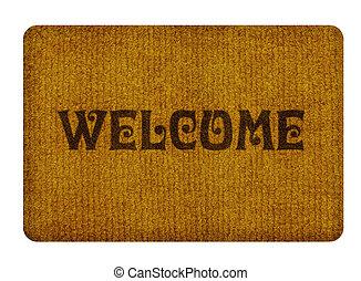 voet, welkom, poetsen, tapijt