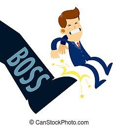 voet, zakenman, geschopte, baas, krijgen