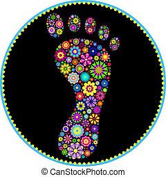 voetafdruk, floral, witte achtergrond, kleurrijke