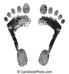 voetafdruk, gedetailleerd, beeld, vector, grunge