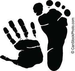 voetafdruk, hand