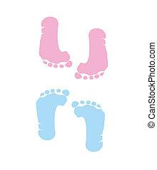 voetafdruk, jongen, meisje