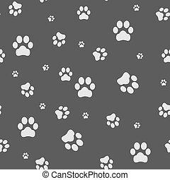 voetafdruk, kat, dog, achtergrond, seamless