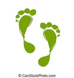voetafdruk, ontwerp, schets, groene, jouw