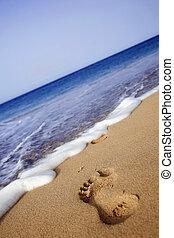 voetafdruk, strand