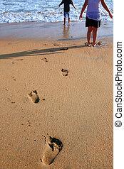 voetafdruk, toonaangevend, wateren, kind, oceaan
