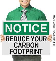 voetafdruk, verlagen, koolstof