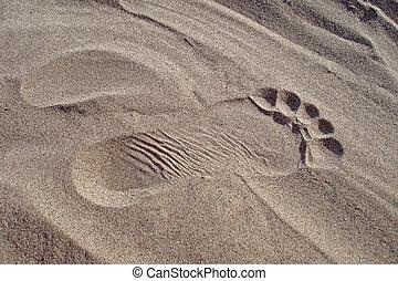 voetafdruk, zand