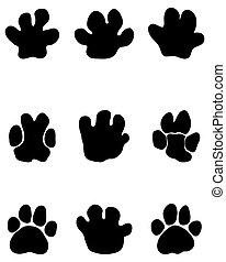 voetafdrukken, black , nijlpaard