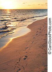 voetafdrukken, op, zandig strand, op, zonopkomst