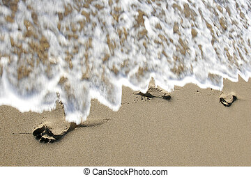 voetafdrukken, strand