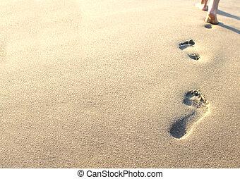 voetafdrukken, zand, menselijk