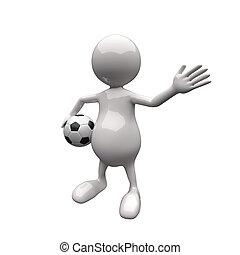 voetbal, 3d, vasthouden, mensen