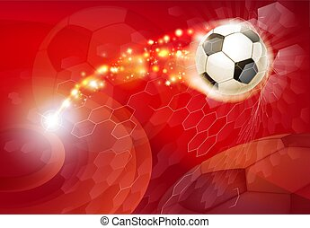 voetbal, abstract, rode achtergrond, voetbal