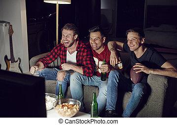 voetbal, amerikaan, mannen, competitie, schouwend