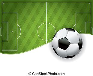 voetbal, amerikaan, voetbalveld, en, bal, achtergrond