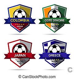 voetbal, badge, (, set, voetbal, )