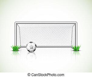 voetbal doel, en, bal