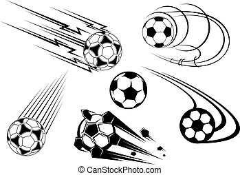 voetbal, en, voetbal, symbolen, en, mascots