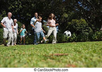 voetbal, generatie, multi, vrolijk, spelend, gezin