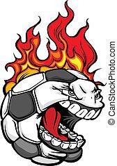 voetbal, gezicht, met, het vlammen, haar, vector, beeld