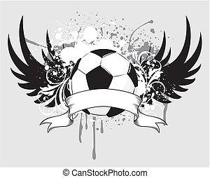 voetbal, grunge, blason