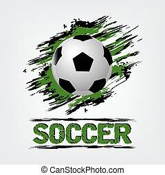 voetbal, grunge, effect, bal