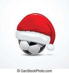 voetbal, hoedje, kerstman