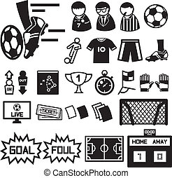voetbal, iconen, voetbal, set