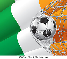 voetbal, ierse , bal, vlag