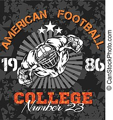 voetbal, illustratie, amerikaan, -, t-shirt, vector