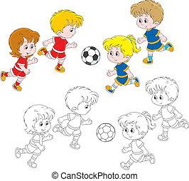 voetbal, kinderen spelende