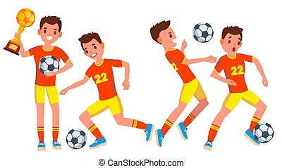 voetbal, mannelijke , speler, vector., in, action., moderne, uniform., ball., boots., spotprent, karakter, illustratie